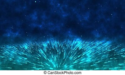 Abstract background of light trails and particles of the universe