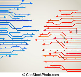Abstract background of metro lines with arrows - Abstract...