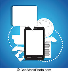 Abstract background of modern mobile phone with communication cloud. Template for a text