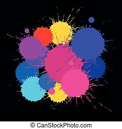 Abstract background of multicolored paint stains