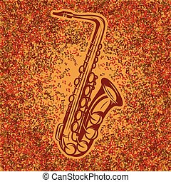 Abstract background of music notes with gradient and...