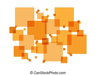 Abstract background of orange intersecting squares, flat design