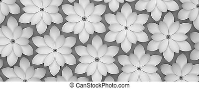 Abstract background of paper flowers. Monochrome 3D pattern.