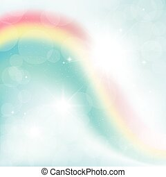abstract background of rays on a blue sky with a rainbow
