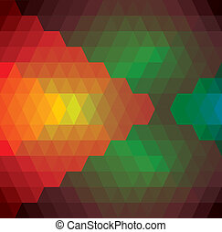 abstract background of rhombus, diamonds & triangles shapes- vector graphic. This illustration has repetitive diamonds, rhombus & triangles shaped pattern made of orange, red, brown, blue, green colors