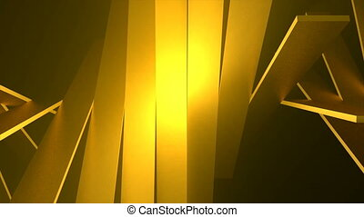 Abstract background of rotation gold boxes with reflecting