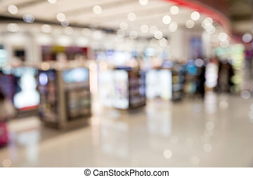 shopping mall, shallow depth of focus.
