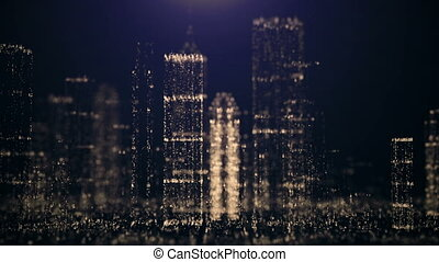 Abstract background of the big city of glittering...