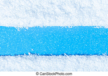 texture snow close-up on blue