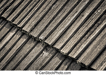 detail of an old wooden roof