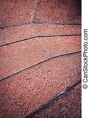 Red concrete tiles