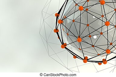 Abstract background. Orange connecting dots with space for ...