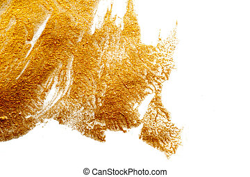 Abstract background painted with a brush of gold paint