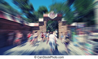Abstract background. Pedestrians walking - rush hour in Barcelon