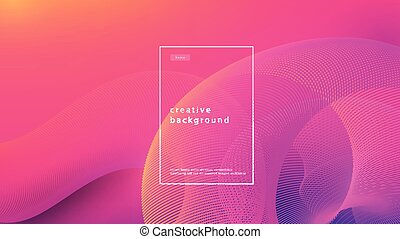 Abstract background pink design. Fluid flow gradient with geometric lines and light effect. Motion minimal concept. Vector illustration