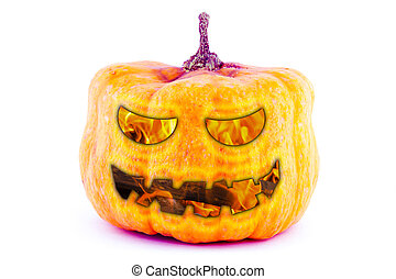 abstract background scary face pumpkin fire smile eyes design halloween on white base