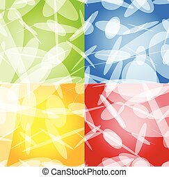 Abstract background set in four colors. Green, blue, orange, red and yellow vector backgrounds with white shapes.