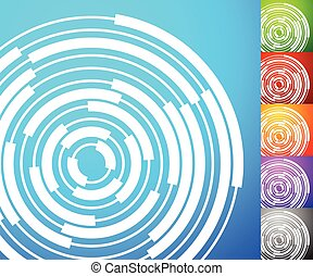 Abstract background set. Square format backgrounds with geometric element in 5 colors + grayscale version