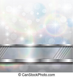 Abstract background, silver blurry lights, vector.