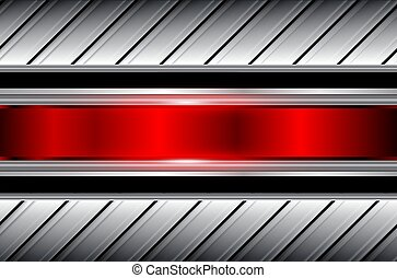 Abstract Background Silver Red With Metallic Elements 3d Vector