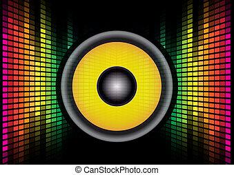 Abstract Background - Speaker on Multicolor Equalizer on Black Background