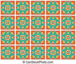 square green orange textile pattern