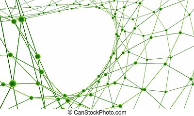 Abstract background. Green connecting dots on white...