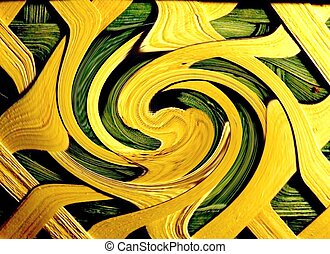 ABSTRACT BACKGROUND - A yellow and green abstract shape...