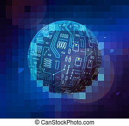 techno globe - abstract background techno globe in space in...