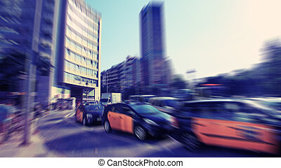 Abstract background. Traffic blur motion in modern city  - rush