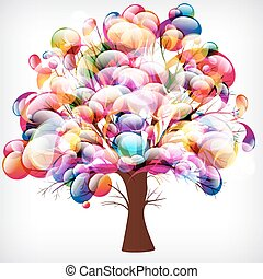 abstract background, tree with branches made of colorful drops.