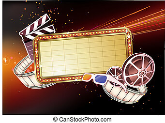 Vector illustration of retro illuminated Movie marque Blank sign