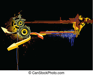 abstract background - Vector illustration of urban music ...