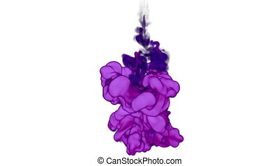 Abstract background violet Ink in water or smoke with alpha mask for motion effects and compositing VFX. Beautiful Ink clouds or smoke move in slow motion with luma matte that very easy to use. Ver 9