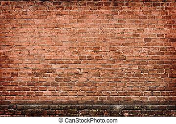 wall of an old orange brick