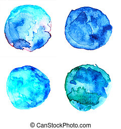 Abstract background. Watercolor blue drops. Design of cards, invitations, flyers, business cards.