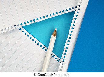 white pencil on colored paper