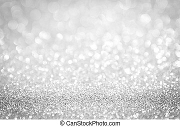 abstract background white Silver lights on christmas bokeh