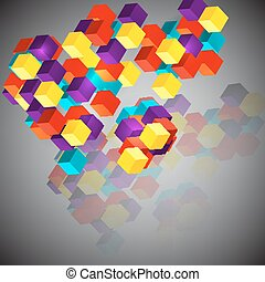 Abstract background with 3d cubes.