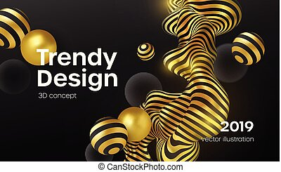Abstract background with 3d dynamic shapes. Black bubbles. Modern cover concept. Decoration element for banner design. Vector illustration