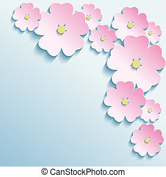 Abstract background with 3d flowers