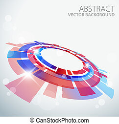 Abstract background with 3D red and blue object and place...