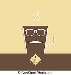 Abstract background with a cup of coffee