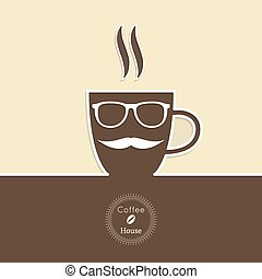 Abstract background with a cup of coffee, with a mustache...