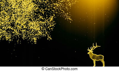 Abstract background with a deer near a tree with particles....