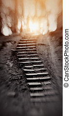 A way upward, to light. - Abstract background with a ladder...