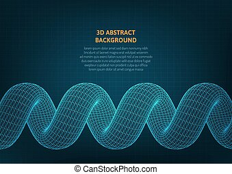 Abstract background with a volumetric object on the surface.