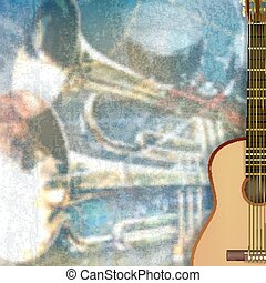abstract background with acoustic guitar