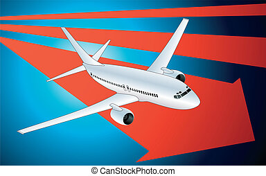 Abstract background with airplane for poster