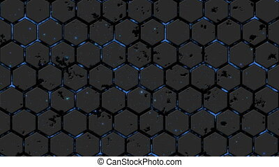 Abstract background with animation of energy flow. Hexagon wall. Particle.
